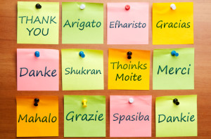 Thank you word post it in 12 languages